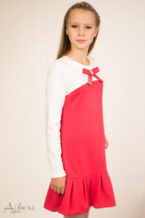 """Платье трикотажное """"джерси"""" двухцветное с декоративным бантом Артикул:1025"""
