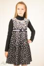 Платье теплое нарядное с репсовым бантом, поясом и декором Артикул:1027