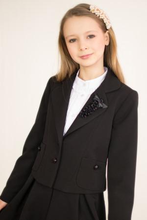 Жакет классический с накладными карманами и отложным воротником Артикул:2013