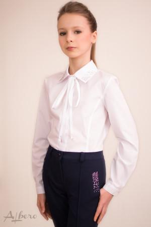 Блуза с рельефами, воротником и стразами, с репсовой завязкой Артикул:5006