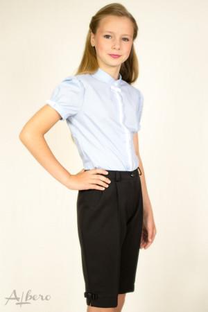 """Блуза  с потайной  застежкой, рукавом """"фонариком"""" и контрастной отделкой   Артикул:5007-B"""