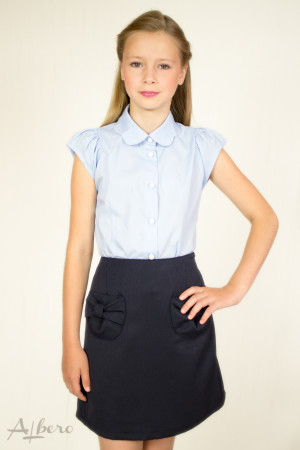 """Блуза с подкройным рукавом-крылышком и воротником """"фестонами"""" Артикул:5011-B"""