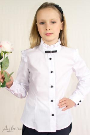 Блуза с длинным рукавом, брошью и декоративными оборками Артикул: 5015