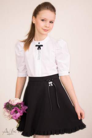 """Блуза с """"пышным"""" рукавом, декоративным бантиком и стразами Артикул:5022"""
