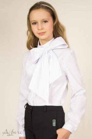 Блуза с двойной стойкой, защипами по горловине и съемным бантом Артикул: 5028