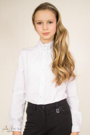 Блуза с двойной стойкой, защипами по горловине и съемным бантом Артикул:5028