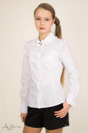 Блуза с кокеткой, круглым воротником и брошью Артикул:5035