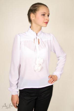 Блуза шифоновая с капелькой и круглой стойкой Артикул: 5036