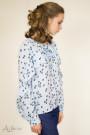 Блуза шифоновая с воланом по полочке и рукаву (голубая) Артикул:5055