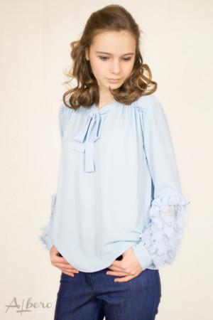 Блуза шифоновая с цветами на рукавах голубая Артикул:5057