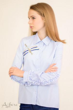 """Блуза в розовую полоску с декором """"фламинго"""" Артикул: 5059"""