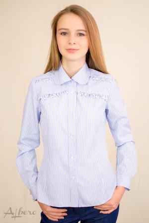 Блуза в голубую полоску с двойными оборками  Артикул: 5062