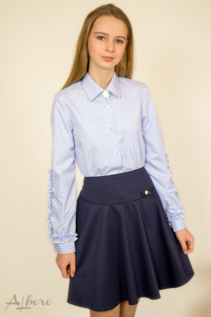 Блуза в голубую полоску с оборками по рукавам Артикул:5066