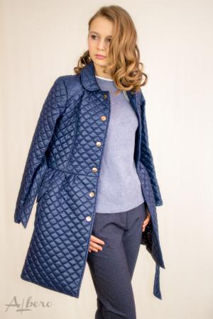 Пальто демисезонное темно-синее на кнопках Артикул:7022