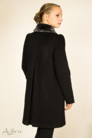 """Пальто шерсяное черное в """"горох"""" с накладными карманами  Артикул:7030"""