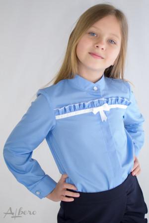 Блуза с горизонтальной оборкой голубая Артикул:5090-B