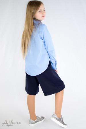 Рубашка с фигурным низом голубая Артикул:5094-B