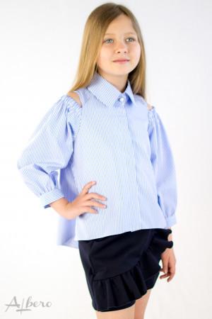 Рубашка с открытыми плечами в полоску Артикул:5096