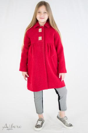Пальто КРАСНОЕ шерстяное с кокетками, меховым воротником и декоративными стразами Артикул: 7009