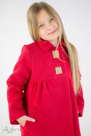 Пальто КРАСНОЕ шерстяное с кокетками и декоративными стразами Артикул:7009