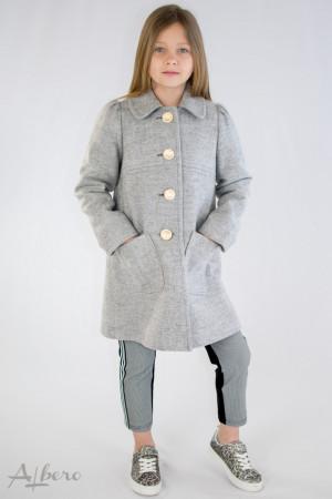 Пальто шерстяное серое с накладными карманами Артикул:7031