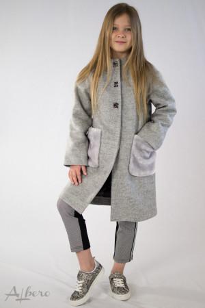 Пальто серое с меховыми карманами Артикул: 7037