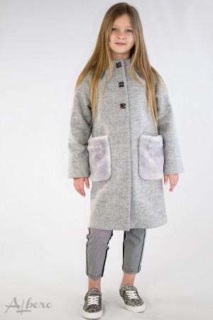 Пальто серое с меховыми карманами Артикул:7037