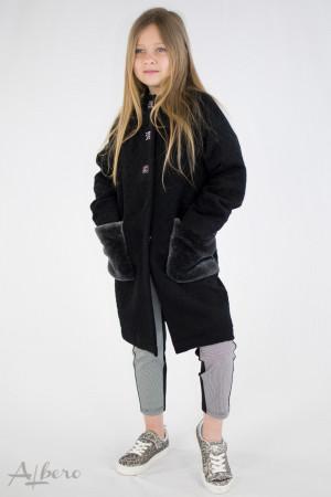 Пальто черное с меховыми карманами Артикул:7038