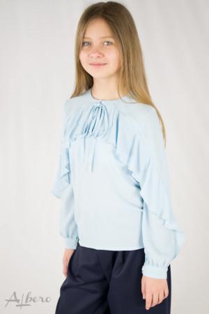 Блуза голубая шифоновая с воланом по полочке и рукаву Артикул:5072-B