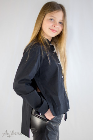 Рубашка с боковыми разрезами черная Артикул:5098-B