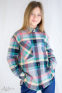 Рубашка клетчатая (серый, зеленый, бежевый) Артикул:5100