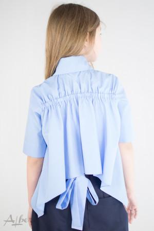 Рубашка с драпировкой по спинке голубая Артикул:5106-B