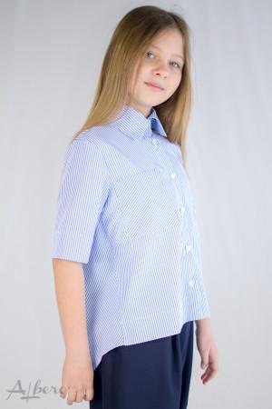 Рубашка с драпировкой по спинке в полоску Артикул:5107