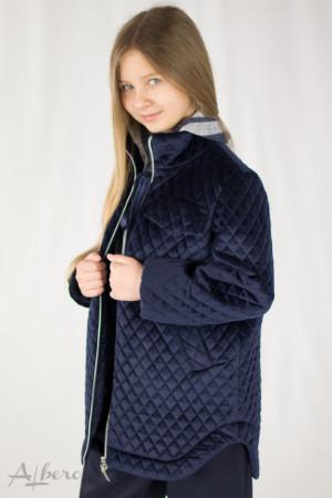 Куртка из стеганого велюра темно-синяя Артикул:7042
