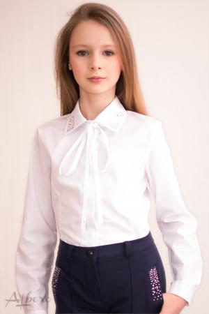 Блуза с рельефами, воротником и стразами, с репсовой завязкой Артикул: 5006