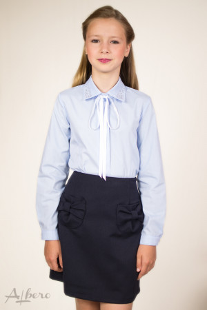 Блуза с рельефами, воротником и стразами, с репсовой завязкой Артикул:5006-B