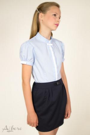 """Блуза  с потайной  застежкой, рукавом """"фонариком"""" и контрастной отделкой   Артикул: 5007-B"""