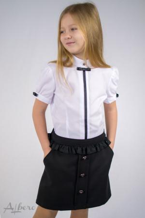 """Блуза  с потайной  застежкой, рукавом """"фонариком"""" и контрастной отделкой   Артикул:5007"""