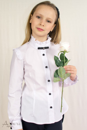 Блуза с длинным рукавом, брошью и декоративными оборками Артикул:5015