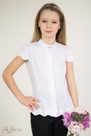 Блуза с фестонами и декоративной брошью Артикул:5021