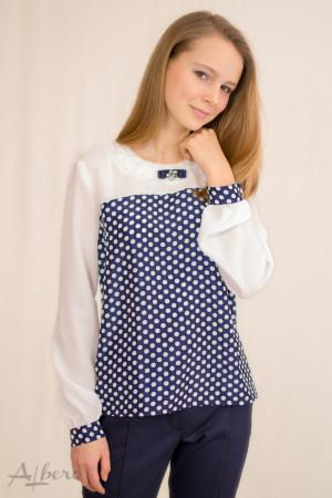 Блуза котрастная с кокеткой и брошью Артикул:5024-B