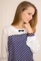 Блуза котрастная с кокеткой и брошью Артикул: 5024-B