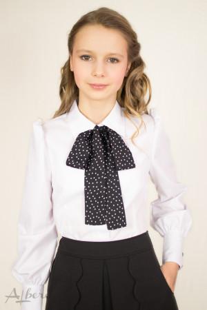 Блуза с декоративным бантом, пышным рукавом и широким манжетом Артикул: 5026