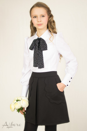 Блуза с декоративным бантом, пышным рукавом и широким манжетом Артикул:5026