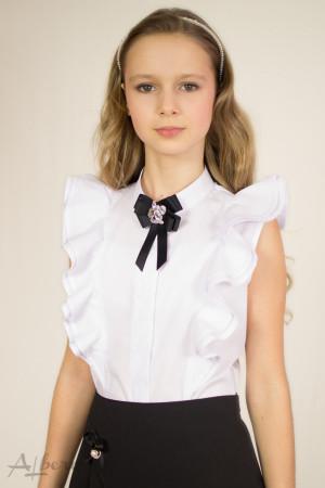 Блуза с двойными воланами и брошью Артикул:5027