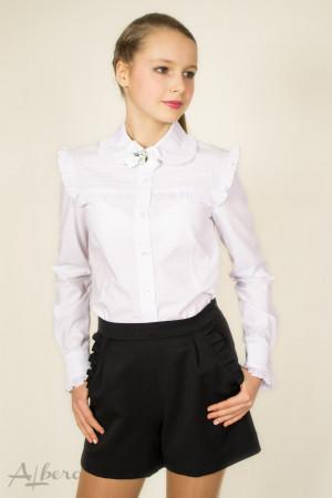 Блуза с кокеткой, круглым воротником и брошью Артикул: 5035