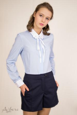 Блуза с цветами на воротнике Артикул:5044