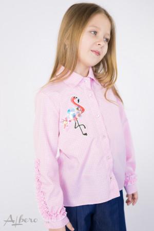 """Блуза в розовую клетку с декором """"фламинго"""" Артикул:5058"""