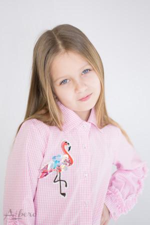 """Блуза в розовую полоску с декором """"фламинго"""" Артикул: 5058"""