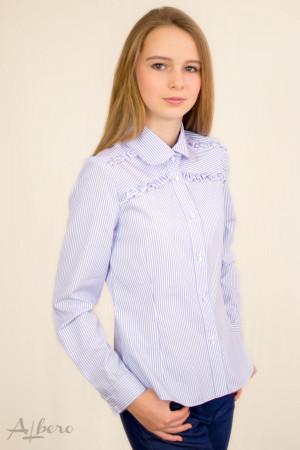 Блуза в голубую полоску с двойными оборками Артикул:5062
